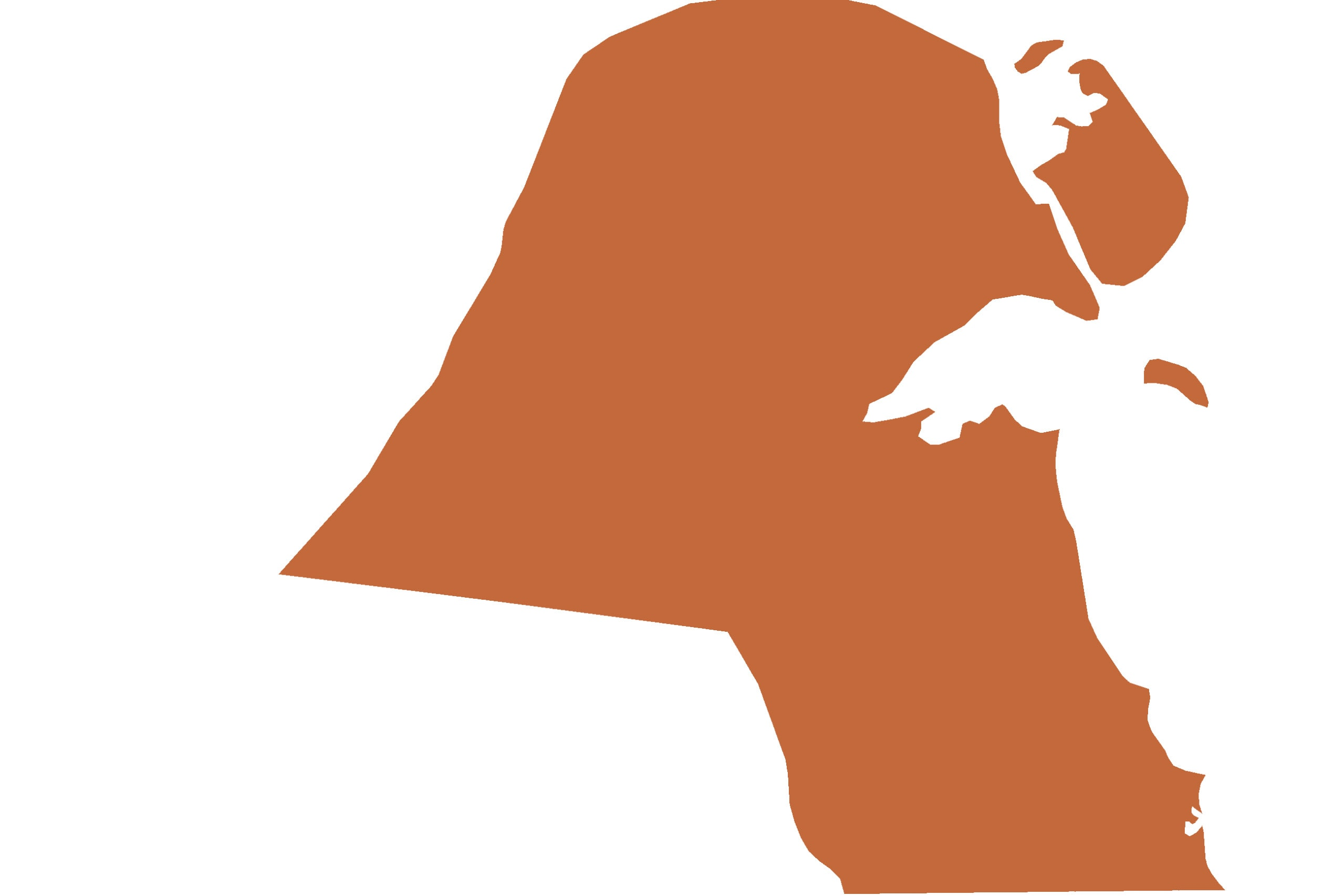 Kuwait map in orange from list of missing countries for 1 Earth City Portrait Photography Project aka NYChildren by Danny Goldfield.