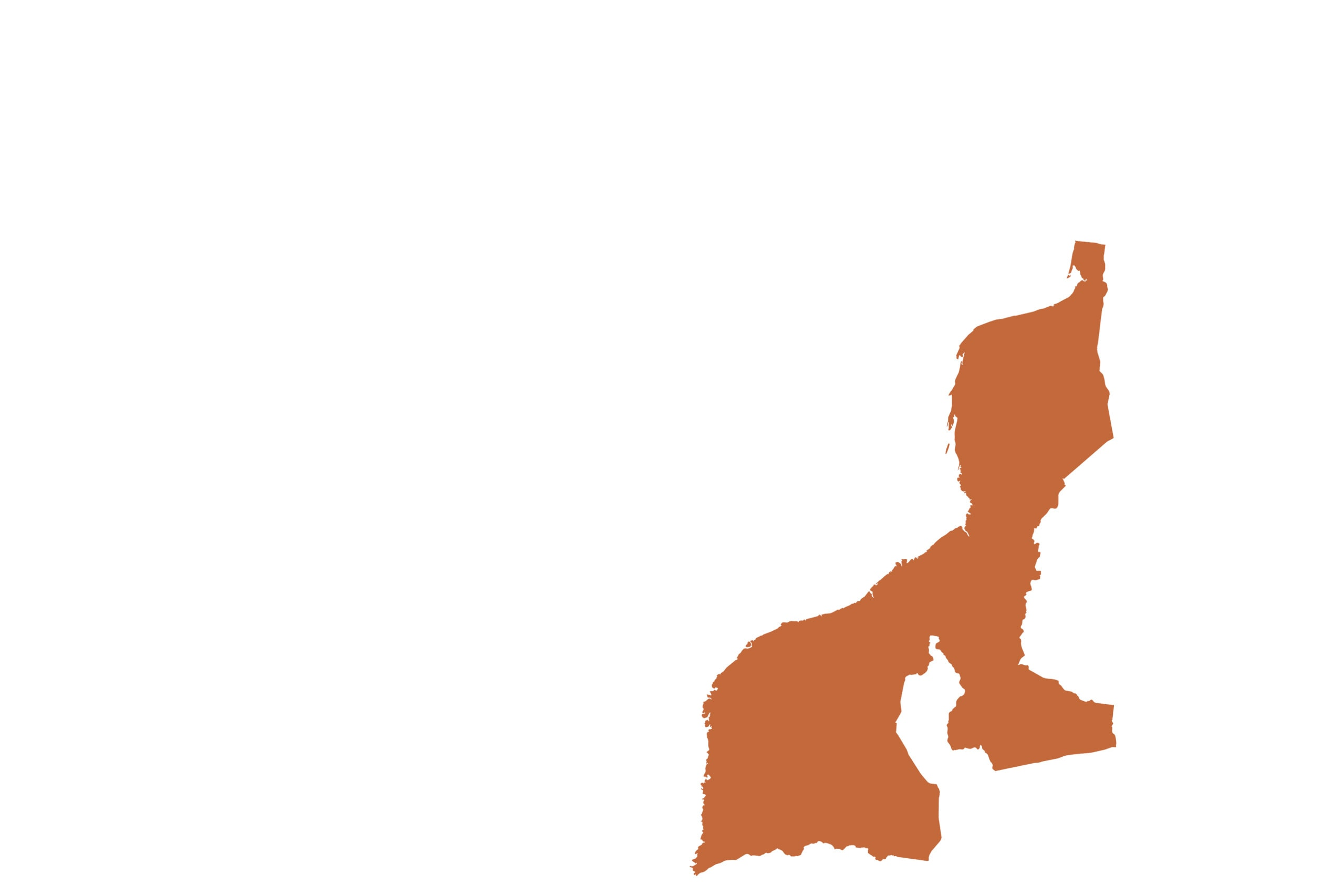 Mozambique map in orange from list of missing countries for 1 Earth City Portrait Photography Project aka NYChildren by Danny Goldfield.
